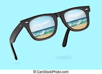 classic sunglasses with reflection of sea isolated on blue ...