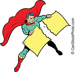 Classic superhero ripping paper or sign (for which you provide your own text or graphics) in half