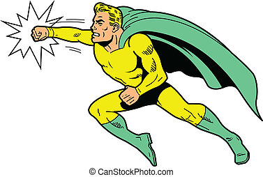Classic retro superhero with cape and clenched teeth throwing a punch