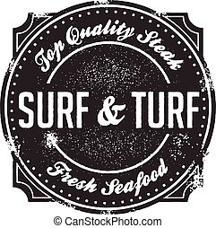 Classic Surf and Turf Menu Stamp - Steak and seafood, the...