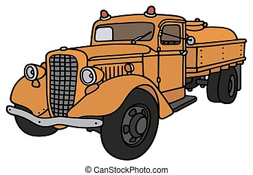 Classic tank truck - Hand drawing of an old orange tank...