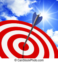 classic target and blue sky - classic target 3d with arrow ...