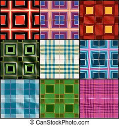Classic tartan, british traditional stripe, plaid vector seamless patterns set