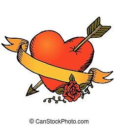 Classic tattoo style vector heart