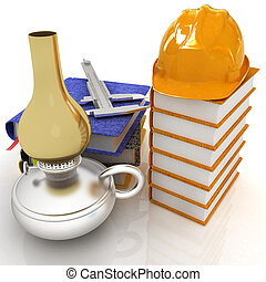 Classic tehnology concept with hard hat on a leather books, trammel on a notebooks and old kerosene lamp. 3d render