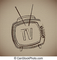 classic television over vintage background vector...