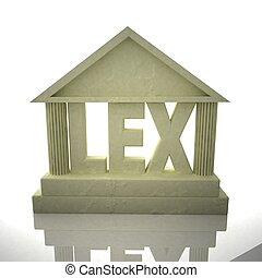 "Classic temple with word ""Lex"", 3d rendering"