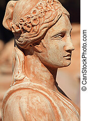 classic terracotta sculpture with female profile, Tuscany ,...