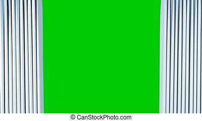 Classic Theatrical Abstract Curtain Opening and Closing with Green Screen. 3d Animation Theater Curtain with Alpha Mask. 4k Ultra HD