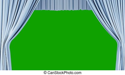 Classic Theatrical Light Blue Abstract Curtain Opening, Rising, Closing with Green Screen. 3d Animation Theater Stage Curtain with Alpha Mask. 4k Ultra HD