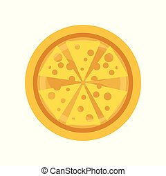 Classic thin crust pizza with slices of delicious cheese. Traditional Italian food. Isolated flat vector design for mobile app, pizzeria or cafe menu