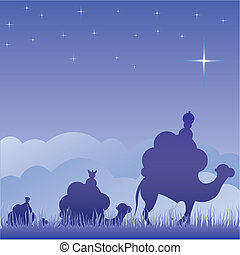 Classic three magi scene and shining star of Bethlehem.