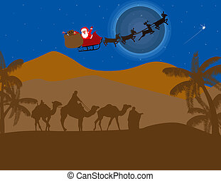 Classic three magic scene, with  flying Santa