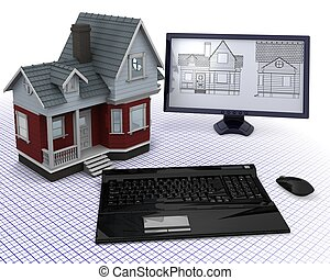 Classic Timber House with computer and blueprints - 3D...
