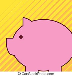 Classic traditional piggy bank animal design look like real pig. Pink swine toy with round and fat body. Imitation of real hog in form of saving money box.
