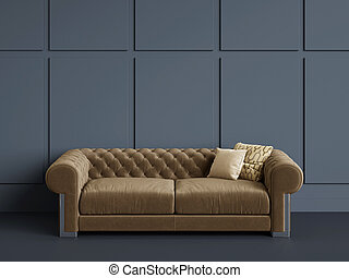 Classic tufted sofa in empty room with blue walls