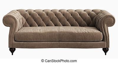 Classic tufted sofa isolated on white background