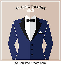 Classic tuxedo suit with bow and black collar for elegant man vector illustration