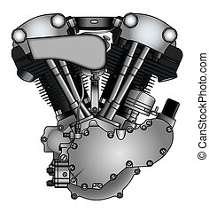 classic V-twin motorcycle engine in vector