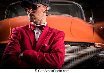 Classic Vehicles Collector. Elegant Caucasian Men Awaiting...