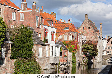 Classic view of channels of Bruges. Belgium. Medieval...