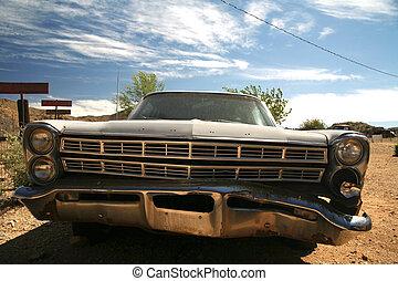 classic vintage american car in desert