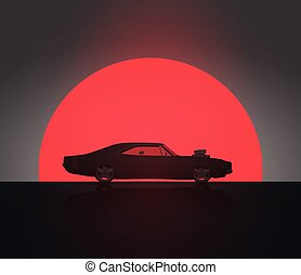 Classic Vintage American Side View Muscle Car in Sunset Silhouette. Vector Illustration. Poster Template.