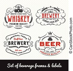 Classic Vintage Beverage Frame and Labels Design. Vector...
