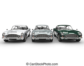 Classic vintage cars in a row