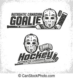 Classic vintage emblems of Canadian hockey with retro goale mask