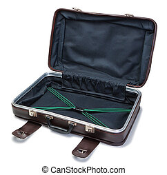 Classic vintage leather suitcase. In the open state.