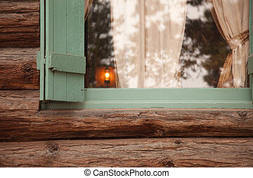Classic Vintage Log Cabin Window Abstract