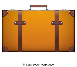 Classic vintage luggage suitcase for travel. Isolated on...