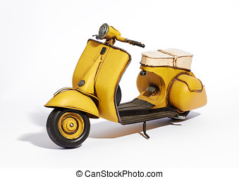 Classic vintage motor scooter - Old classic vintage yellow...