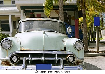 Classic vintage old american light green car