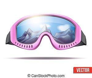 Classic vintage old school pink ski goggles