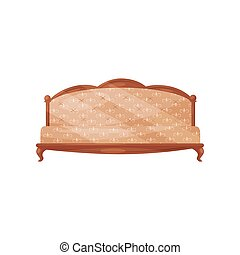 Classic vintage sofa. Wooden couch with soft beige trim. Antique furniture for living room. Interior object. Flat vector icon