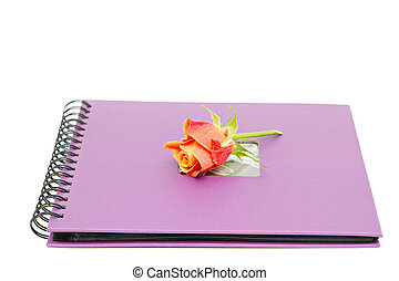 classic violet photo album isolated on white