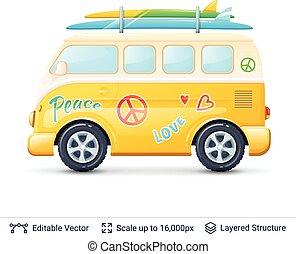 Classic volkswagen bus. - Retro mini van isolated on white....