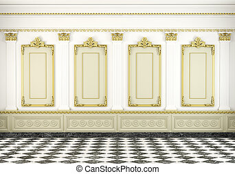 classic wall background with golden molding - 3d scene of a ...