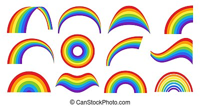 Classic weather rainbow set in different shapes