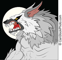 Creative Abstract Conceptual Design Art of Classic Werewolf Vector Illustration with Moon
