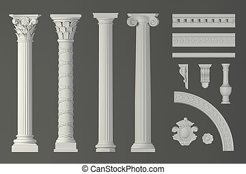 Classic white antique marble columns set