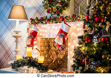Classic white christmas interior background