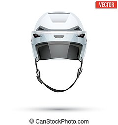 Classic white Ice Hockey Helmet with glass visor isolated on Background. Vector.