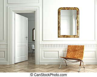 Classic white interior witn chair mirrors and open door