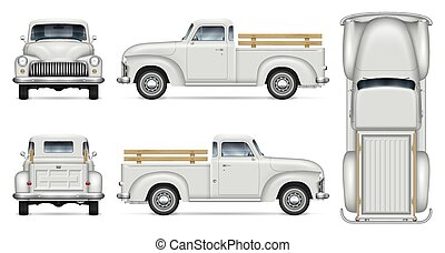 Classic white pickup truck vector mock-up