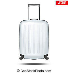 Classic white plastic luggage suitcase for air or road travel