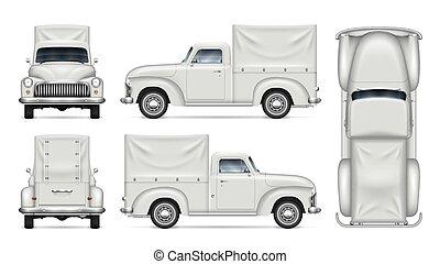 Classic white van vector mock-up