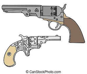 Hand drawing of classic big and small Wild West handguns